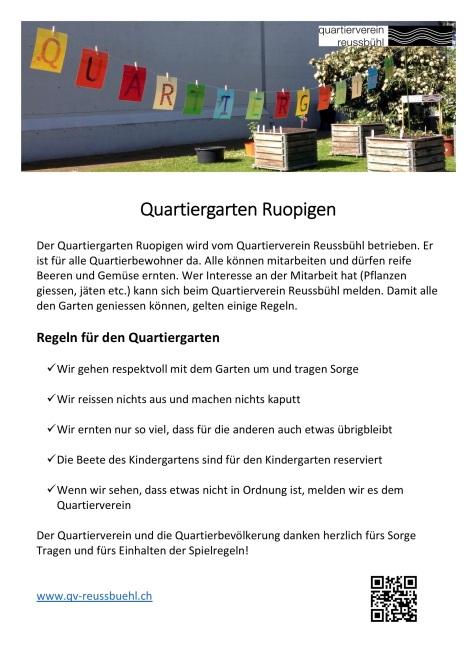 Plakat Quartiergarten Ruopigen
